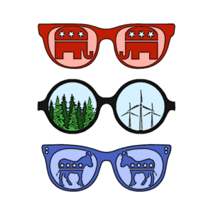 red sunglasses with elephants. Groovy sunglasses with wind turbines and trees, Blue sunglasses with donkeys.