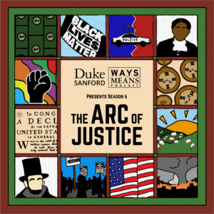 quilt with images from history. Ways & Means season 6 ARC of Justice