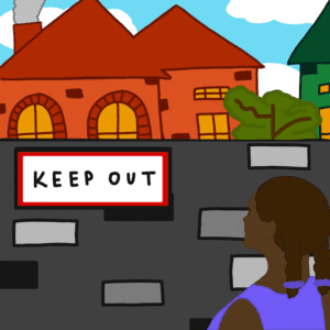 Wall with pretty suburban houses on far side, Keep Out sign on near side. Black woman looking at both