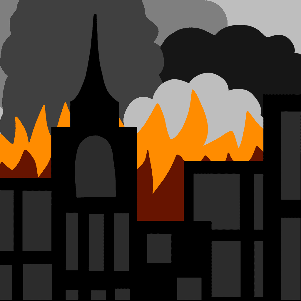 illustration of a city burning